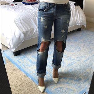 Zara traulifoc boyfriend ripped high waist jeans